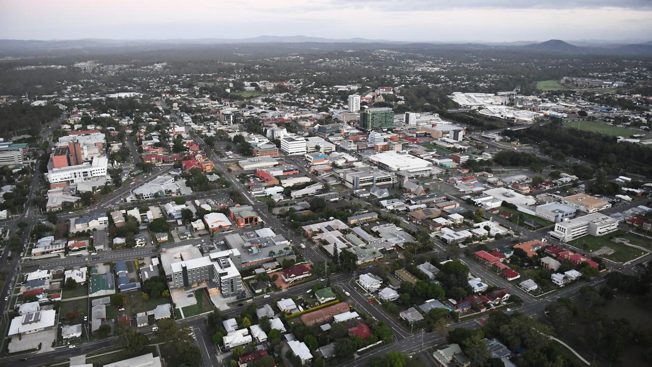 An aerial view of the Ipswich CBD.