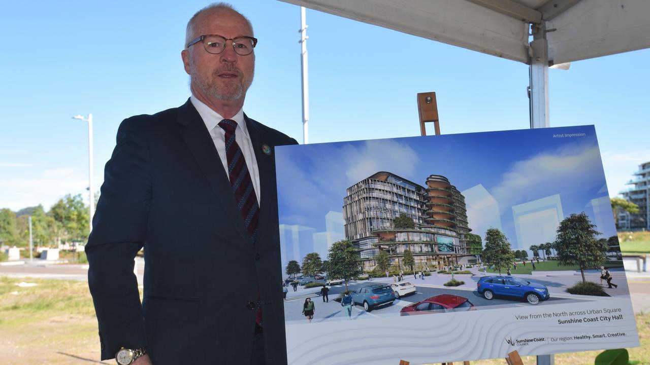 Sunshine Coast Mayor Mark Jamieson unveils the design concept for Sunshine Coast City Hall, to be developed in the Maroochydore CBD.