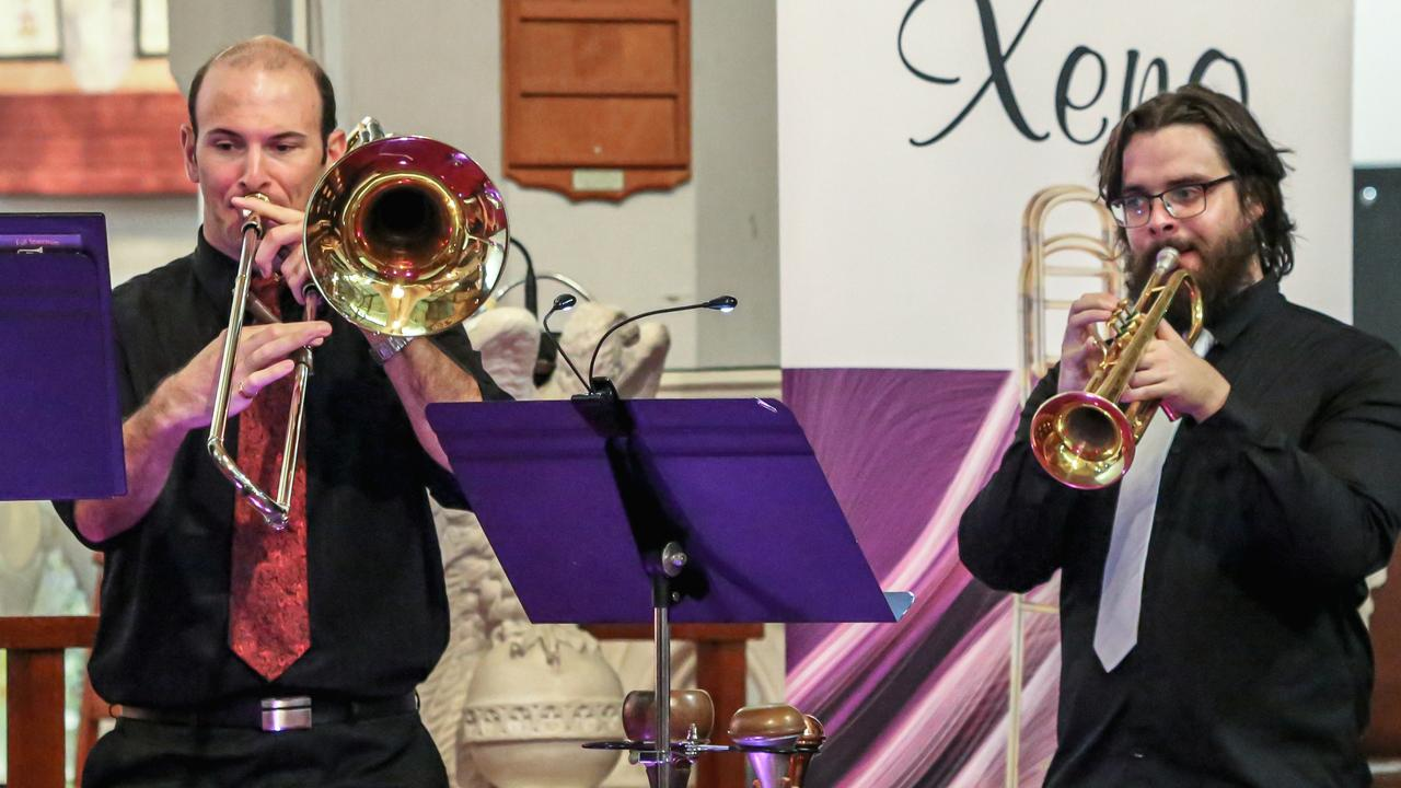 John Cosic and Michael McKay perform with Ipswich City Orchestra in the Brass on Safari tour. St Paul's Anglican Church, Ipswich, May 8, 2021.