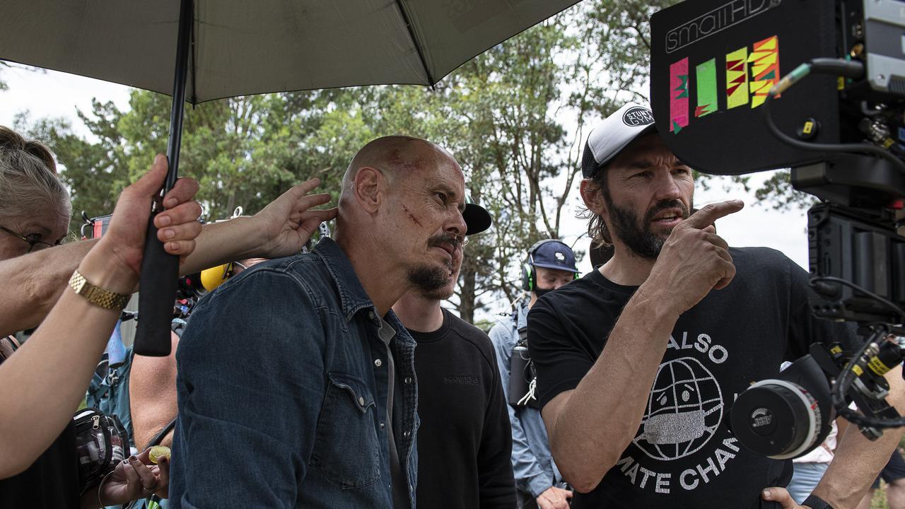 Writer and star Scott Ryan and director Nash Edgerton on the set of Mr Inbetween Season 3.