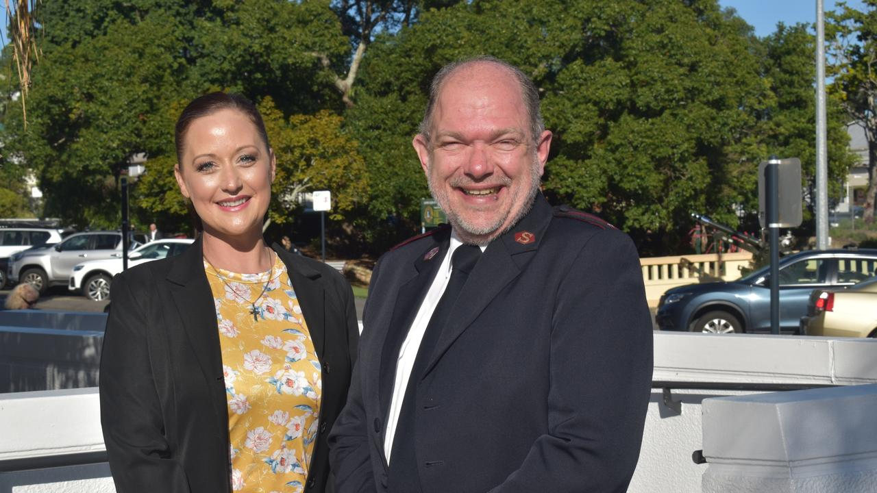 Rachal Mills and Ashley Biermann at the launch of The Salvation Army's 2021 Red Shield Appeal in Ipswich on May 18.