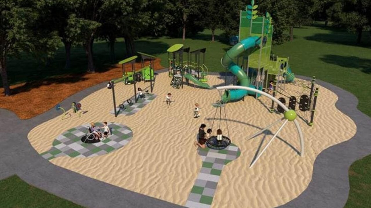 Details of the playground upgrade at Albany Lakes Park in Sippy Downs. Picture: Supplied