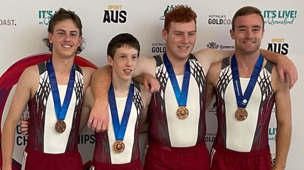 Matt Grieves (left) and Queensland teammates Bryce Edwards, Harrison Lee and Jayden Robinson-Patch won bronze in the open men's double mini trampoline at the national championships.