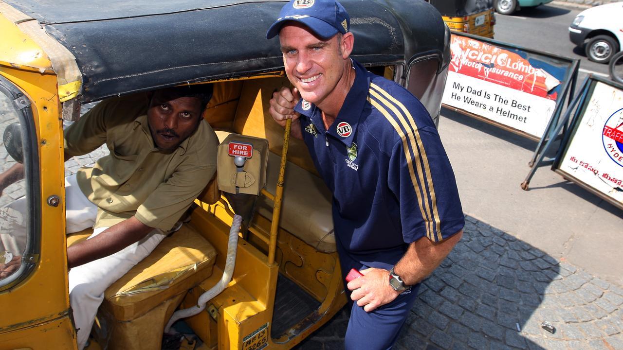 Hayden has found memories of the cricketing nation as seen here in Hyderabad.