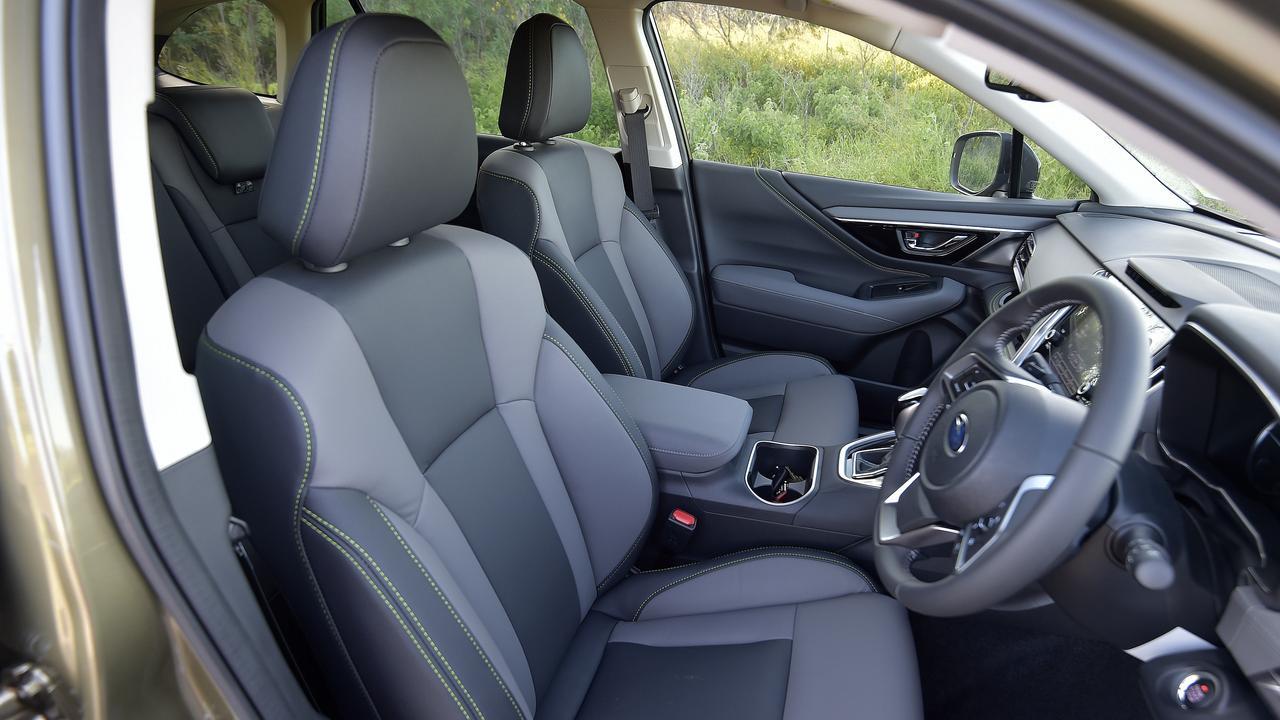 Inside the Subaru Outback Sport.