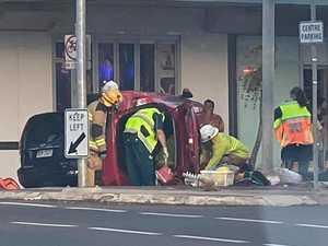 PHOTOS: Traffic chaos as car rolls in Mackay CBD