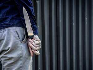 Argument explodes as boyfriend stabs sofa with fishing knife