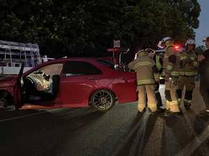 Paramedics rush man to hospital after single-vehicle smash