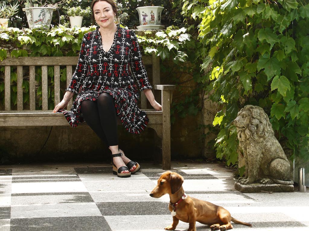 Leona Edmiston at home with Daisy. Picture: John Appleyard