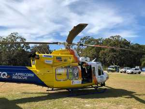 Man in serious condition flown to hospital