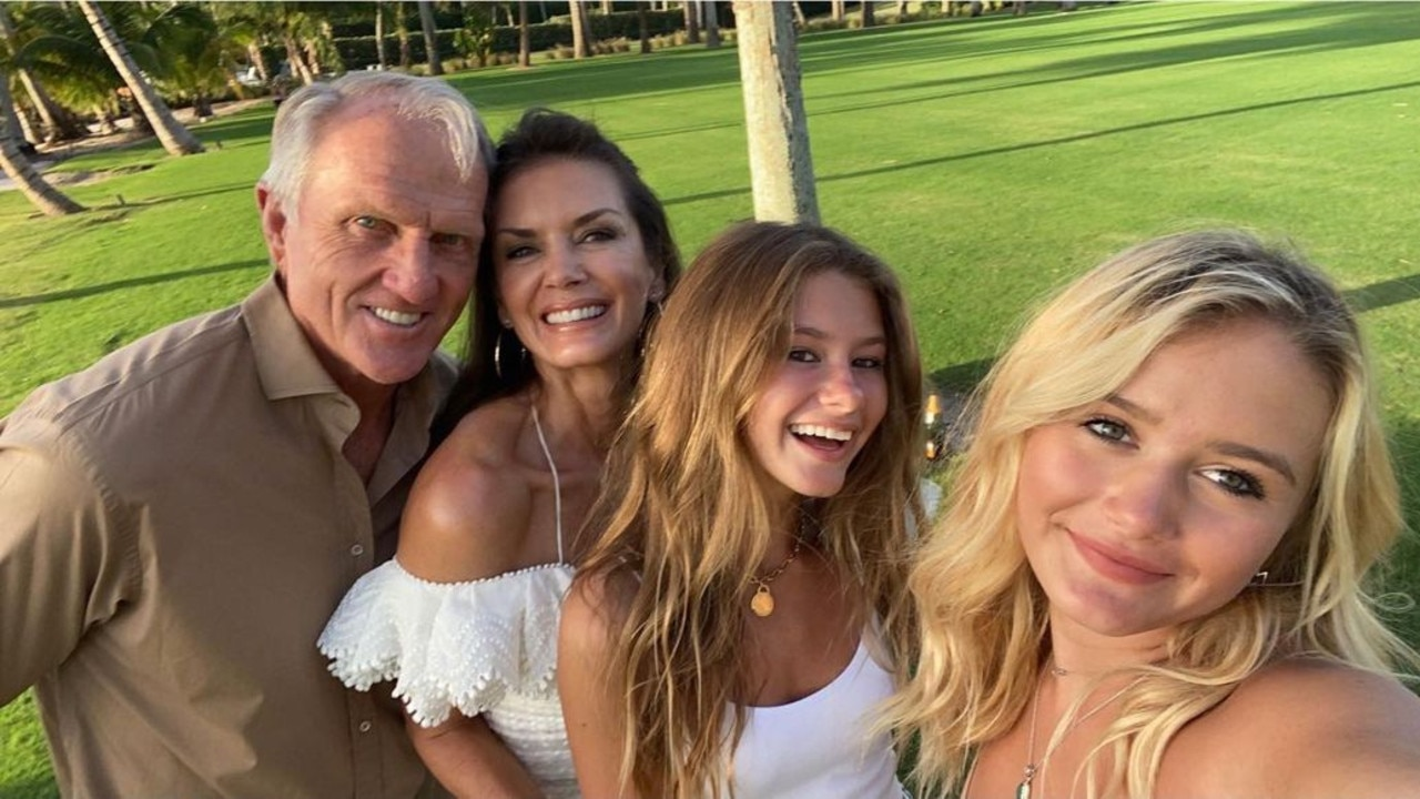 Greg Norman with his wife Kirsten and her daughters Kelly and Kaya.