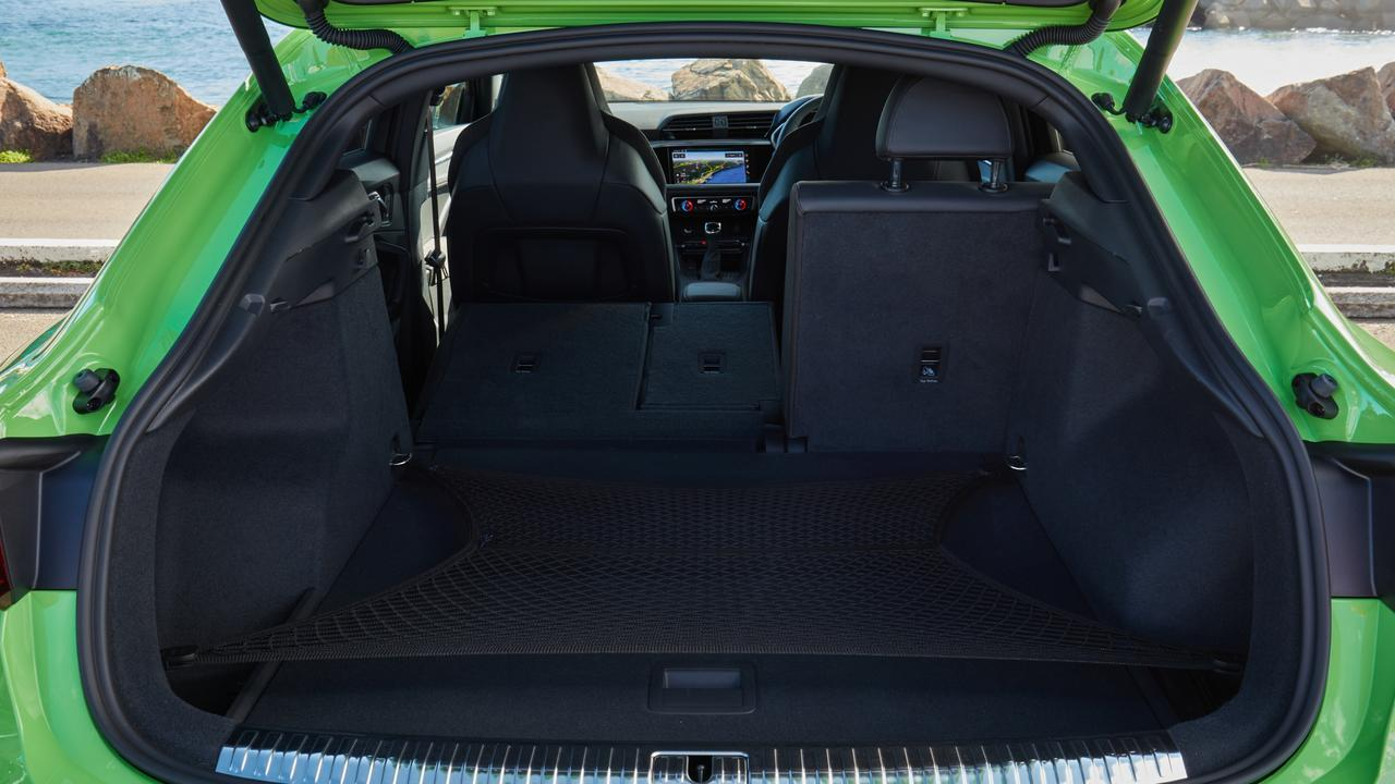 Impressive boot space puts the Audi RS Q3 closer to a mid-size SUV in terms of cargo area.