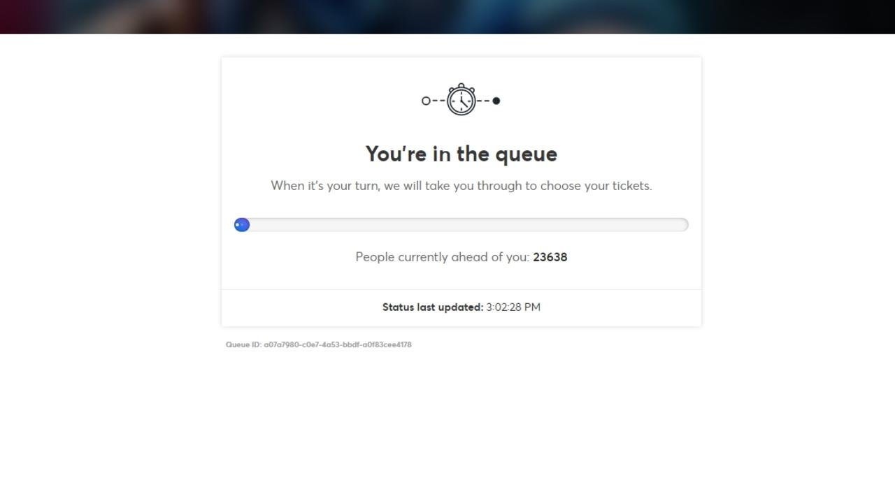 A screenshot of the line for Origin tickets.