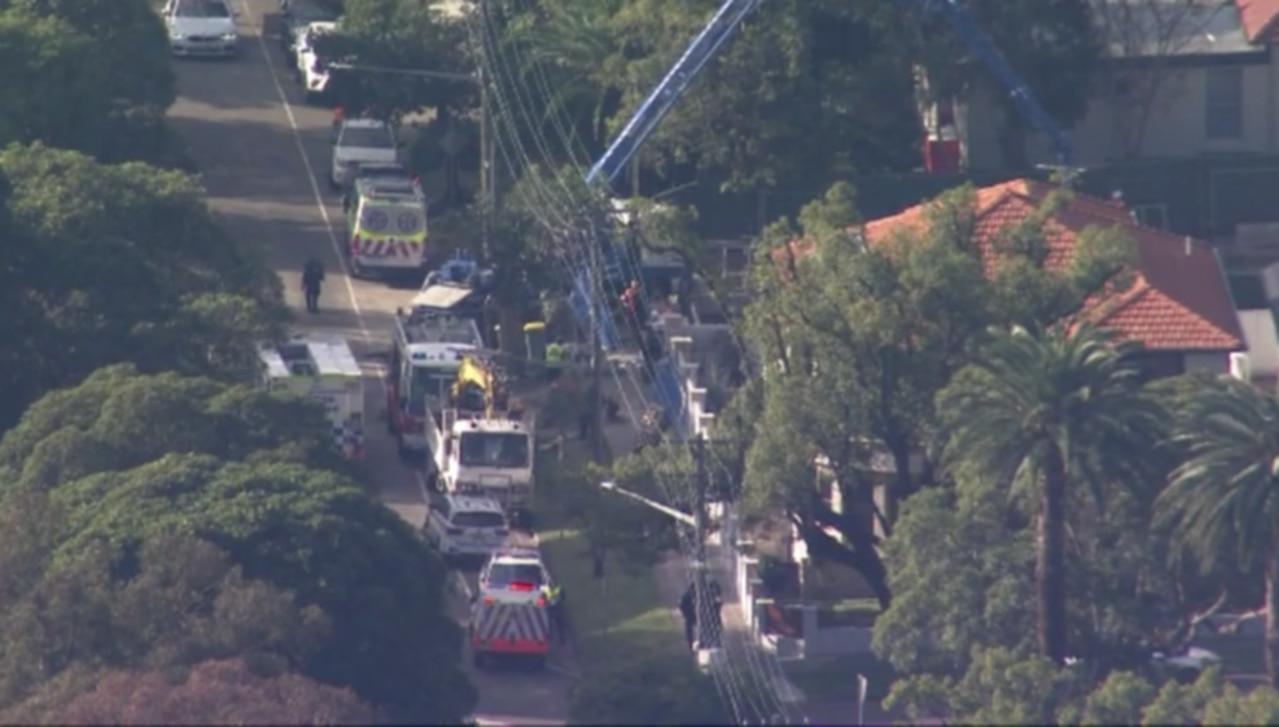Man injured at Strathfield worksite. Picture: 7 News