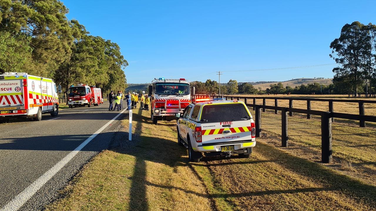 Jerry Plains horse float crash. Picture: Mangoola Rural Fire Brigade NSW