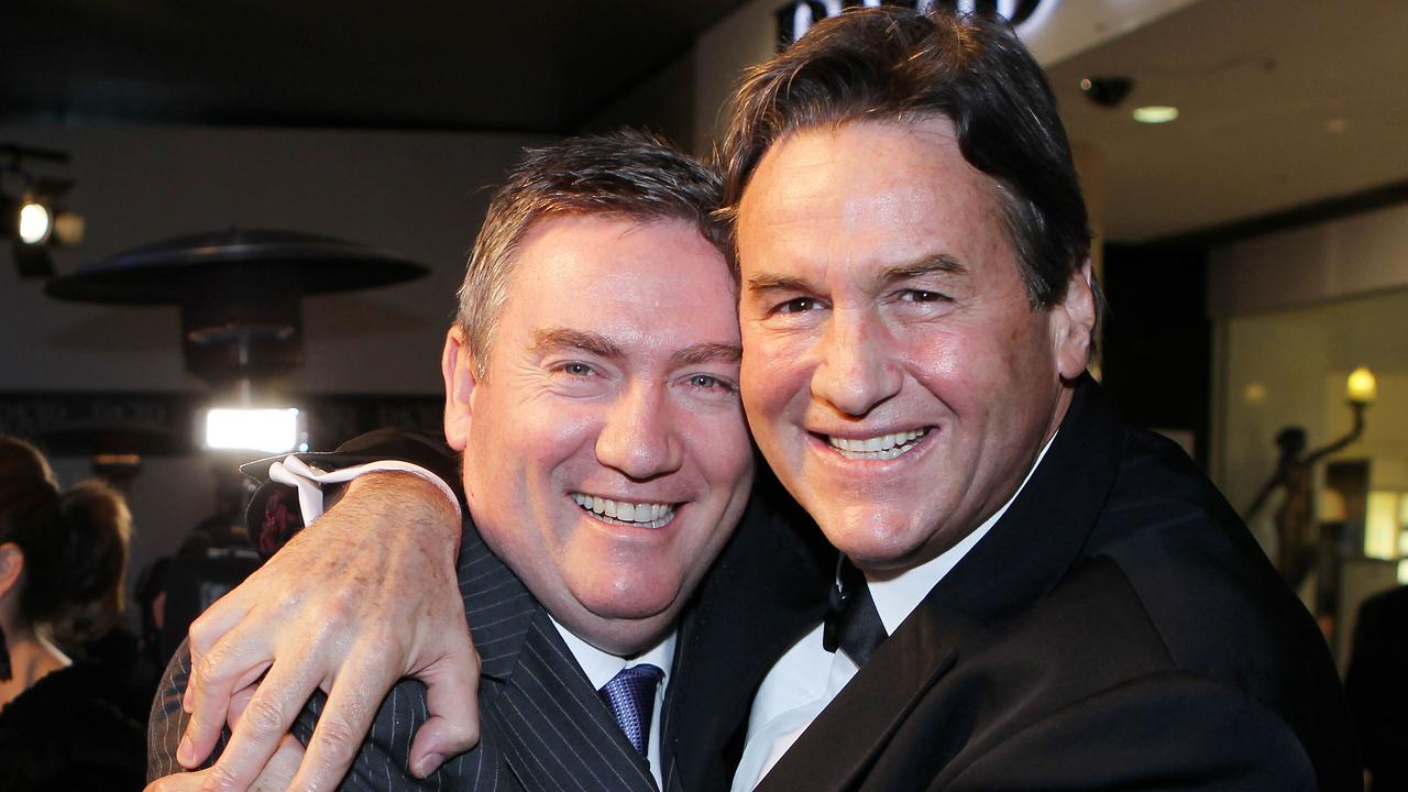 Would-be Collingwood president Jeff Browne and former Magpies president Eddie McGuire.