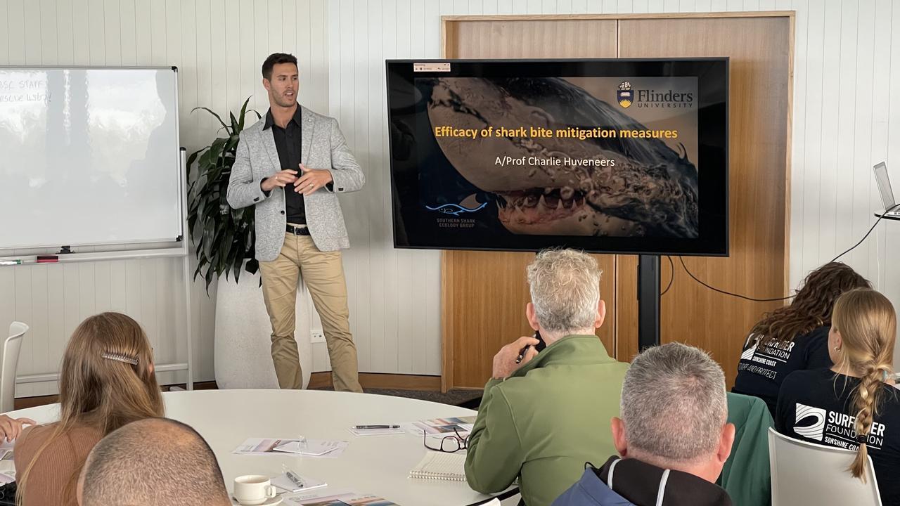 Dr Charlie Huveneers at Noosa Biosphere Marine Species Protection Symposium.