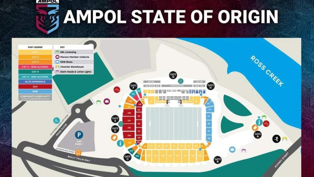 The seating map for Townsville's State of Origin game.