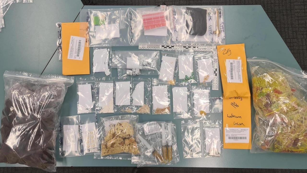 Operation Mackay Fraser seized a multitude of drugs including LCD, ketamine, cocaine and cannabis on the Bruce Highway outside of the Happy Daze festival. Police also found two kilograms of drug-laced gummy bears and hash cookies. Picture: Queensland Police Service