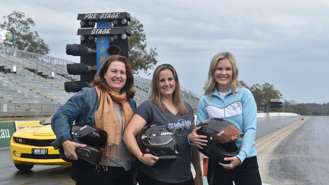Ipswich Mayor Teresa Harding, drag racer Kelly Bettes and Deputy Mayor Nicole Jonic at Willowbank Raceway.