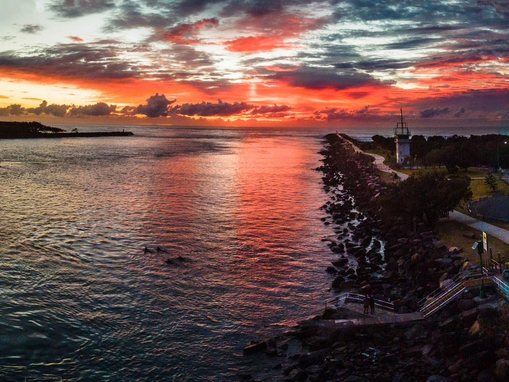 Sunrise at the Southport seaway. Picture: Brendan Smith