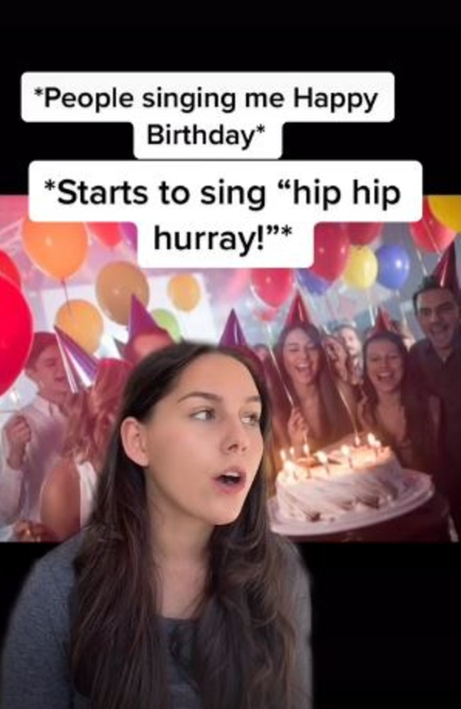 And one of them is when we say 'hip hip hooray'. Picture: TikTok/llarafourie