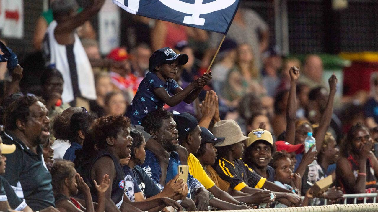 Darwin footy fans pack TIO Stadium for a Carlton v Gold Coast game in 2020. Picture: Che Chorley