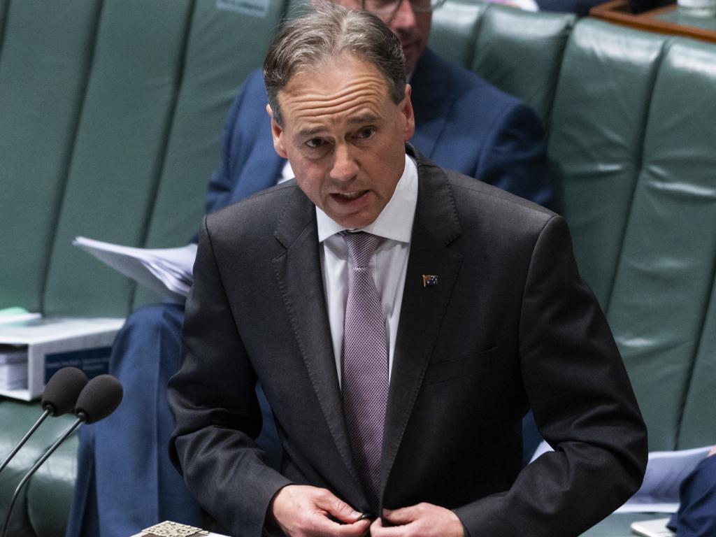 Health Minister Greg Hunt faced scrutiny of the nation's sluggish vaccine rollout. Picture: NCA NewsWire / Martin Ollman