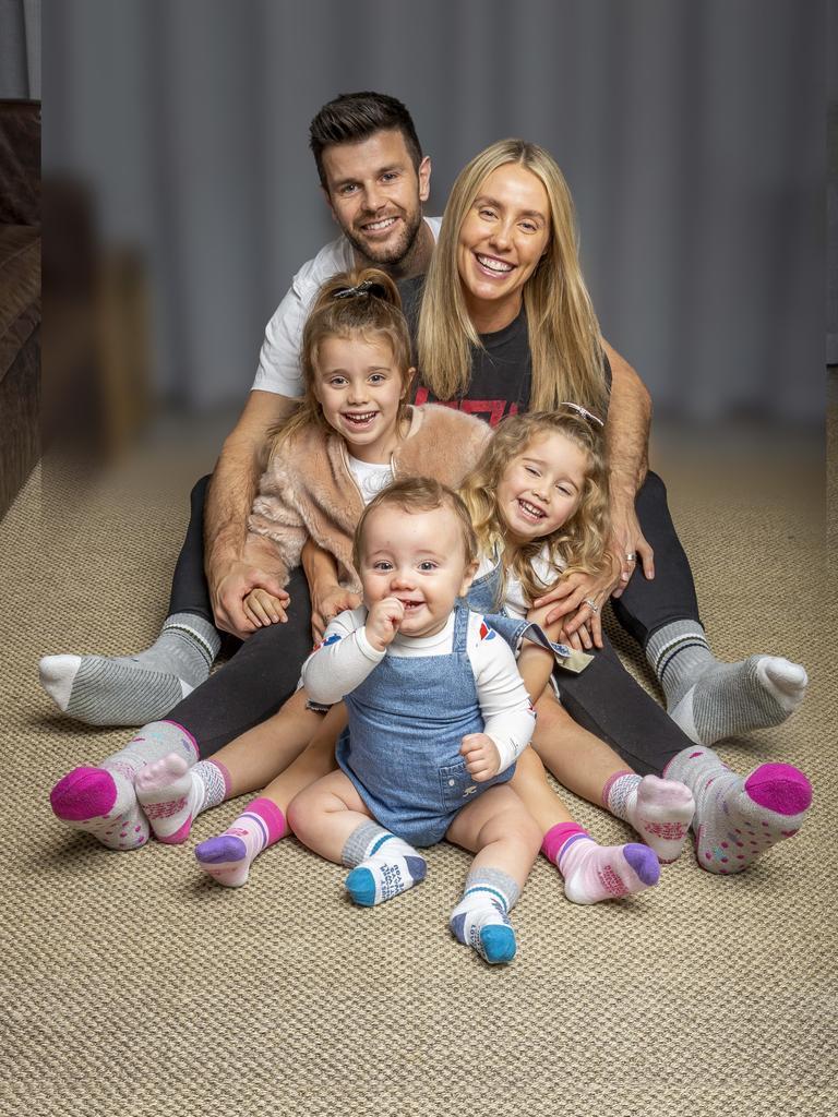 Richmond captain Trent Cotchin, wife Brooke and their three children Harper, Mackenzie and Parker.
