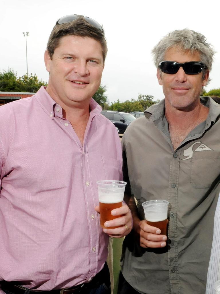 Anthony Herbert and Mark Johnston catch up at a Noosa Long Lunch at the Noosa Dolphins Rugby Union ground.