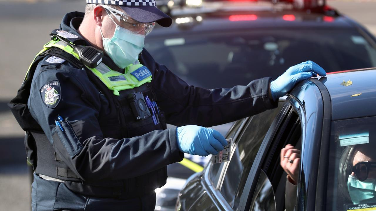 Police are out in force checking that people are legitimately entitled to travel during the Melbourne Covid lockdown. Picture: David Crosling / NCA NewsWire