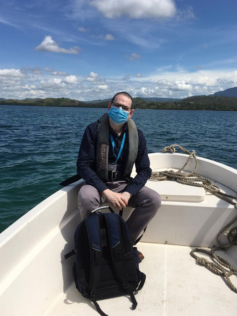 UNICEF Immunisation specialist Dr Shaikh Kabir heading to a remote location in PNG by boat to train local health workers. Picture: Supplied