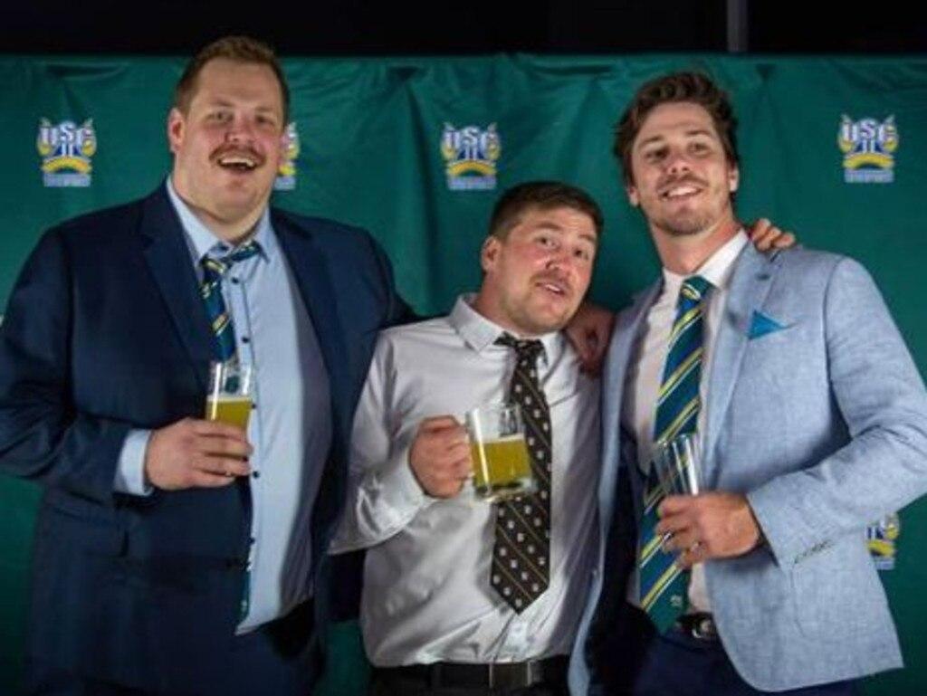 Reserve grade players Ash Platz, Matt Fairbairn and Jake Reidy celebrate at their club's 2020 awards night. Picture Ash Platz Instagram