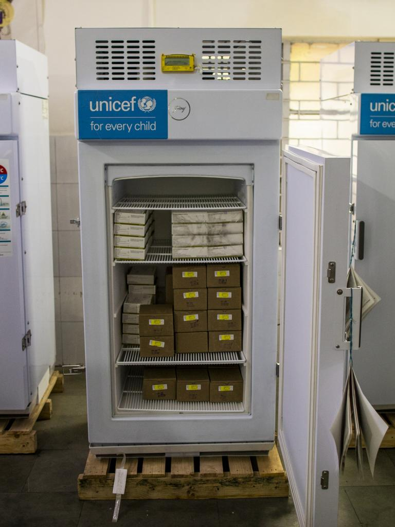 Covid-19 vaccines stored in Ice Lined Refrigerators supplied by UNICEF at MMG hospital in Ghaziabad, Uttar Pradesh, India. Picture: UNICEF