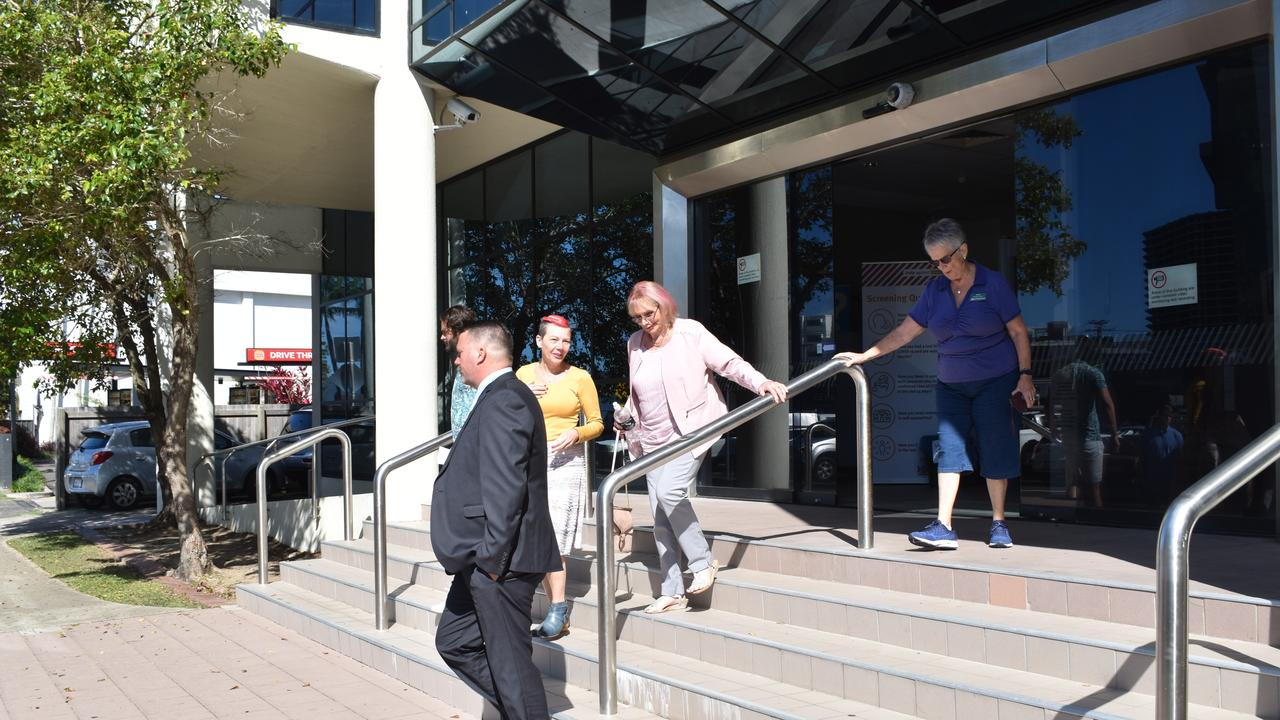 The family of Mackenzie Liam Simpson, who was convicted and sentenced for dangerous driving causing death, leave Maroochydore District Court after the young man's sentencing. Picture: Maddie Manwaring