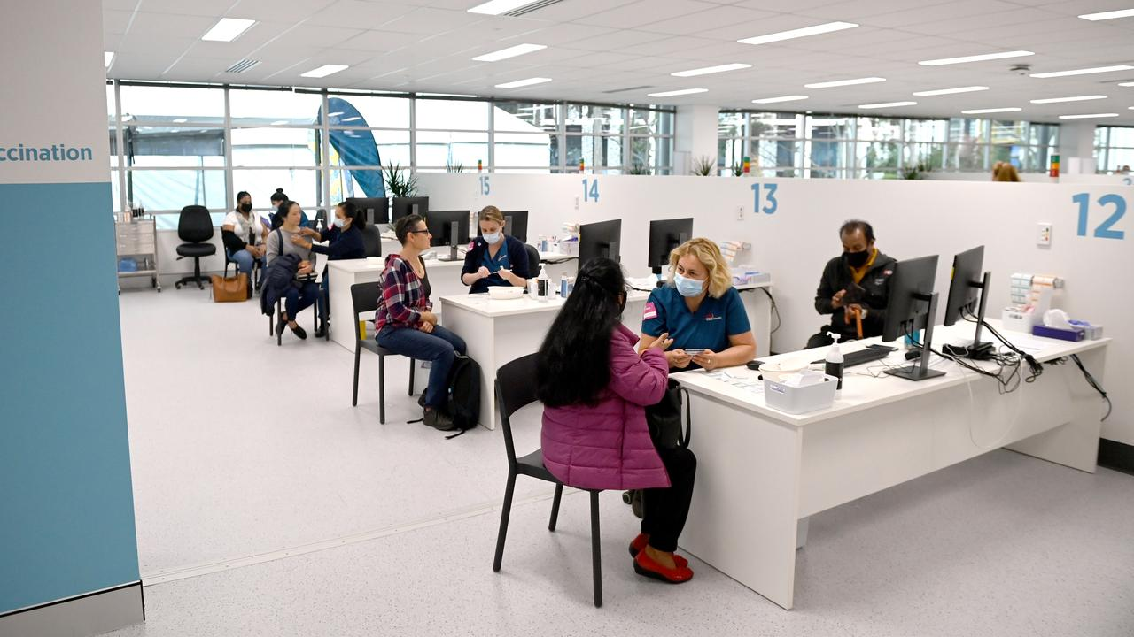 The vaccination hub at Sydney Olympic Park have given thousands of jabs per day. Picture: NCA NewsWire / Jeremy Piper