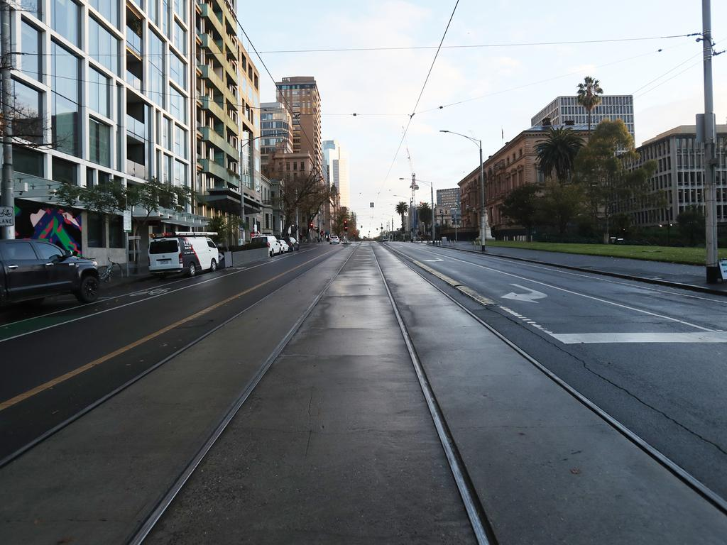 Melbourne streets are empty during the lockdown. Picture: NCA NewsWire/David Crosling