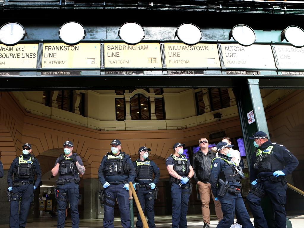 Police were out in force. Picture Rebecca Michael.