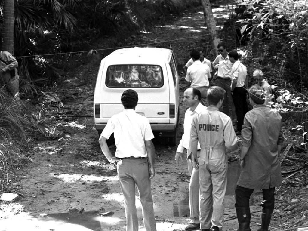 Police at the murder scene in December 1987