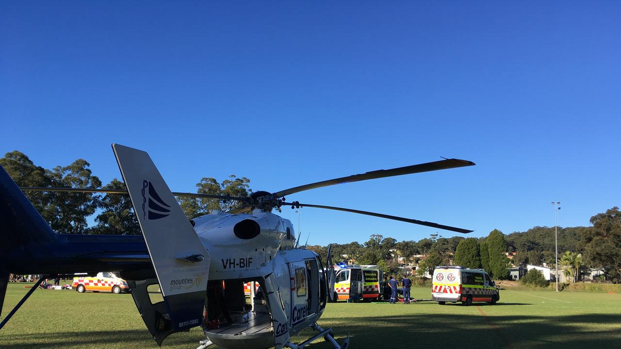 A teenage girl had to be placed in an induced coma and flown to hospital after suffering a serious head injury during a football match tackle. Picture: Supplied by CareFlight