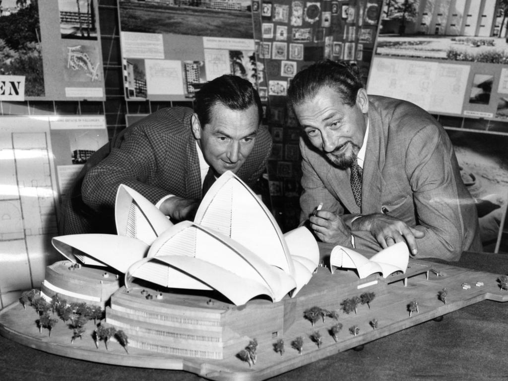 Architects Eric von Schramek and T. Andrzejaczek examining a model of the Sydney Opera House. Picture: Hugh Ross