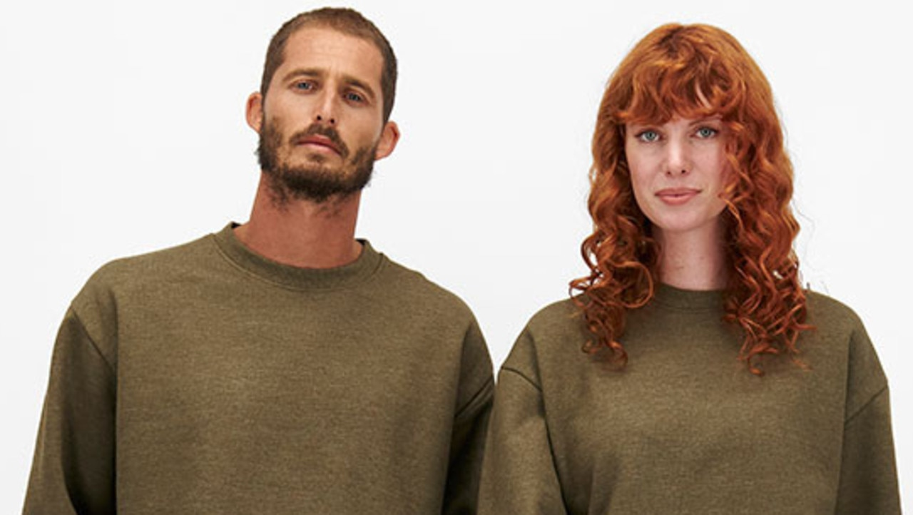 The 'genderless' range consists of neutral toned sweats. Picture: Bonds