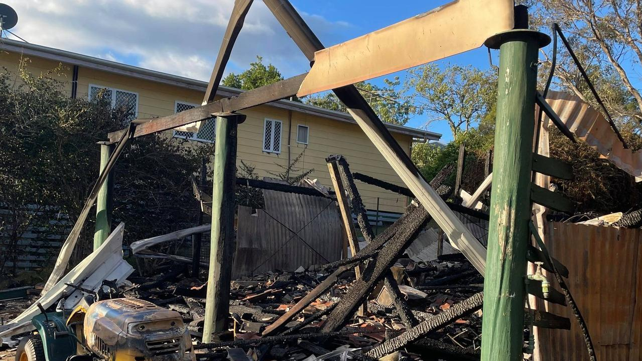 Remnants of the Greenbank family's home at Lowood after it was destroyed by fire. Picture: Crystal Everitt