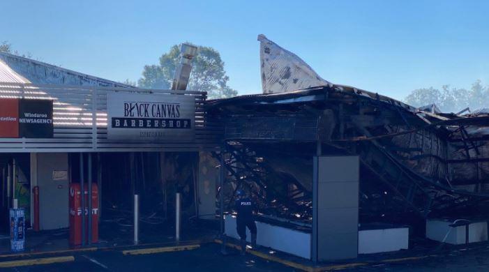 Fire damaged shops at the Windaroo Village centre.