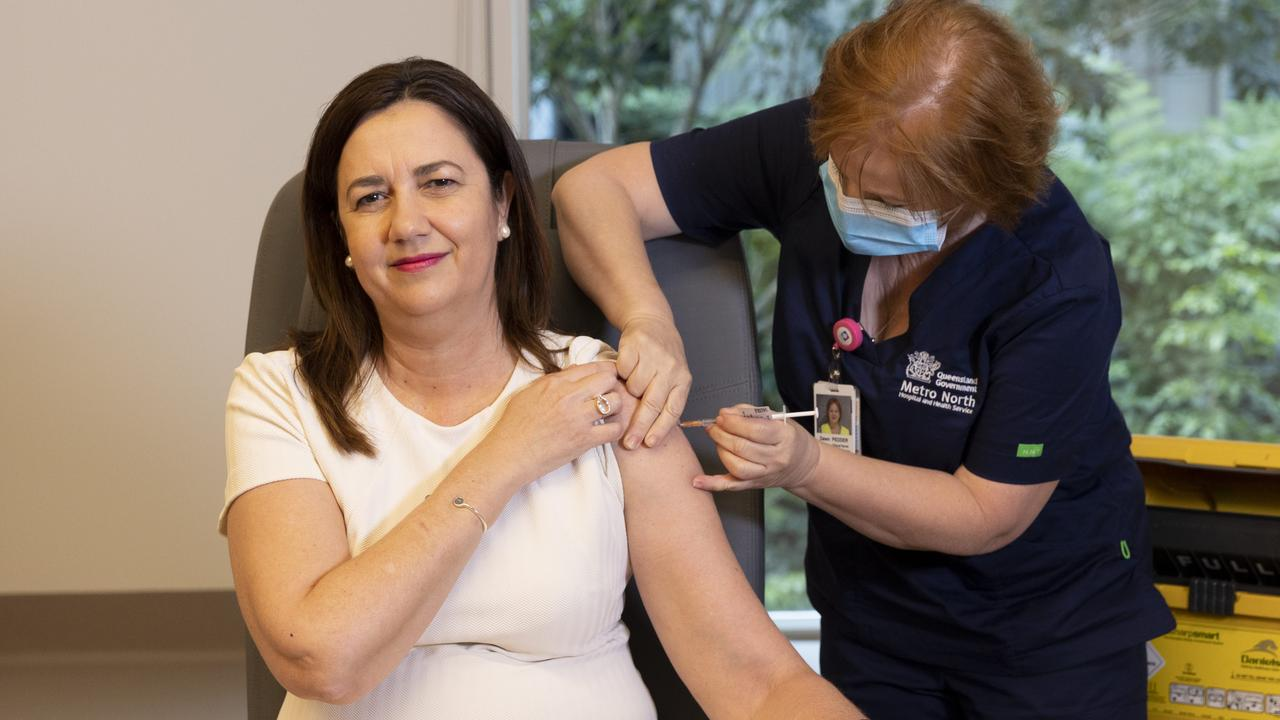Queensland Premier Annastacia Palaszczuk is one of the last state leaders to receive a vaccine. Picture: NCA NewsWire / Sarah Marshall