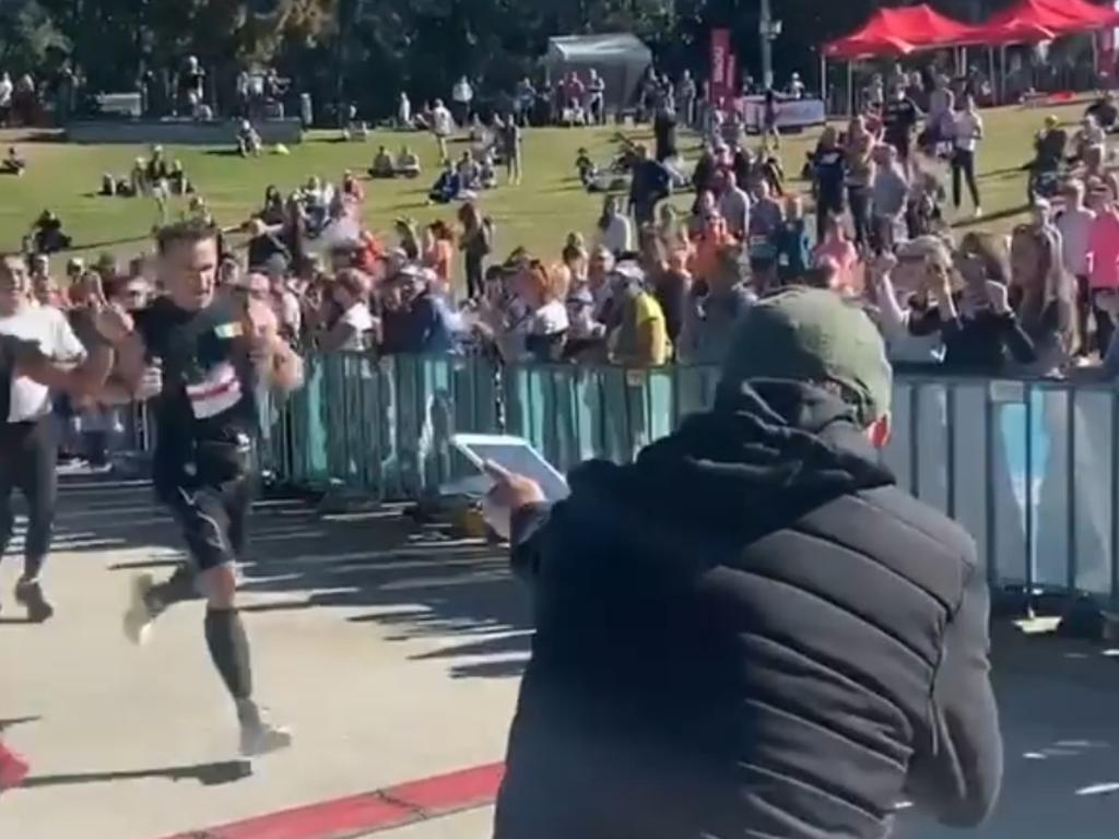 Hollywood superstar Colin Farrell was spotted running in the Brisbane Marathon on the weekend. Picture: @pcrg_running/Instagram