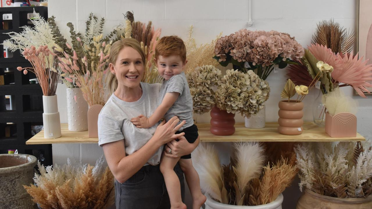 Renee Lavender with her son at her new store, 2021. Picture: Matthew Forrest