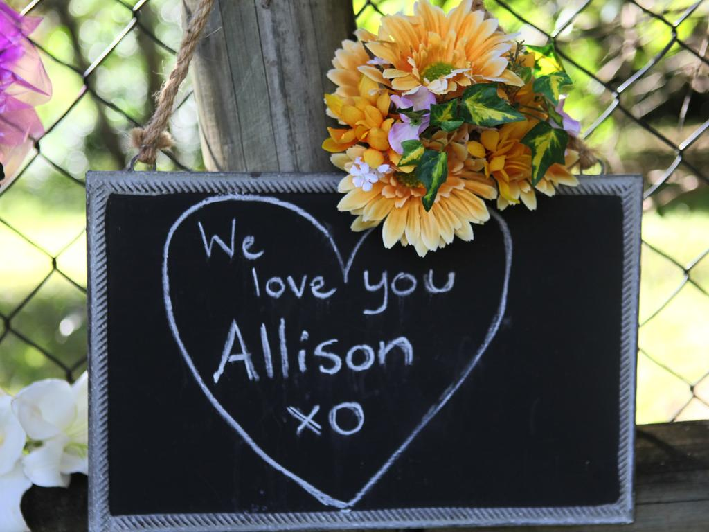 A tribute at the former home of Gerard Baden-Clay and wife Allison.