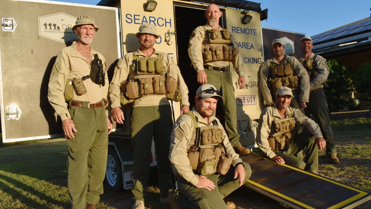 Queensland Remote Area Tracking team members (front row, from left): John Smith and John Farron-Price with (back row, from left): Des Brown, Nathan Gellhaar, Emitt Brown, Seaforth MacKenzie and Matthew Munchow. Picture: Contributed