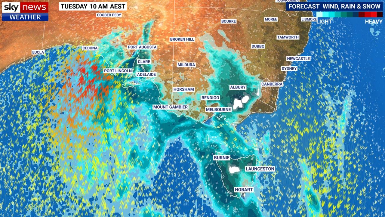 Rain and a cool change is spreading over South Australia and the nation's southeast on Tuesday. Picture: Sky News Weather